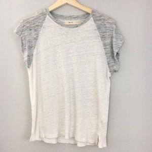 Madewell | Linen Raglan White and Gray Tee.
